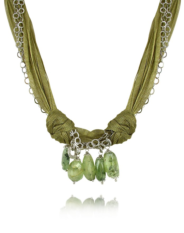 Green Gemstone Drops Multi-strand Sterling Silver Lace Necklace - Daco Milano