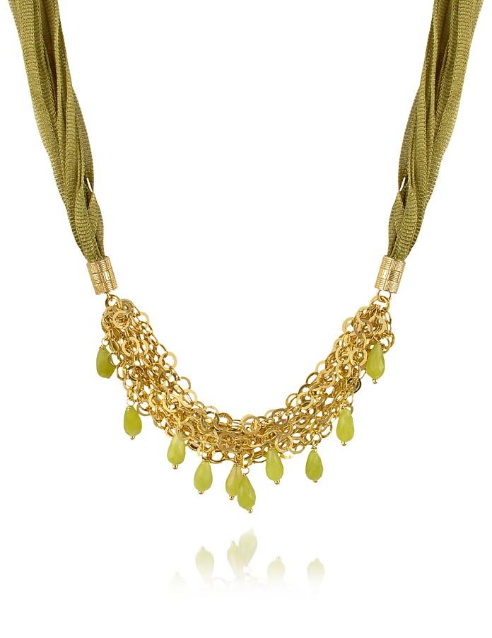 Green Jade Drops Multi-strand Sterling Silver Lace Necklace - Daco Milano