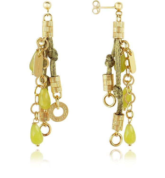 Jade Sterling Silver Drop Earrings - Daco Milano