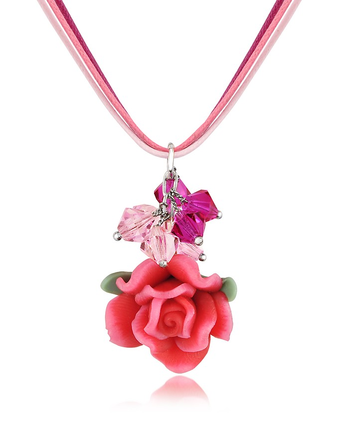 Rose Pendant w/Lace - Dolci Gioie