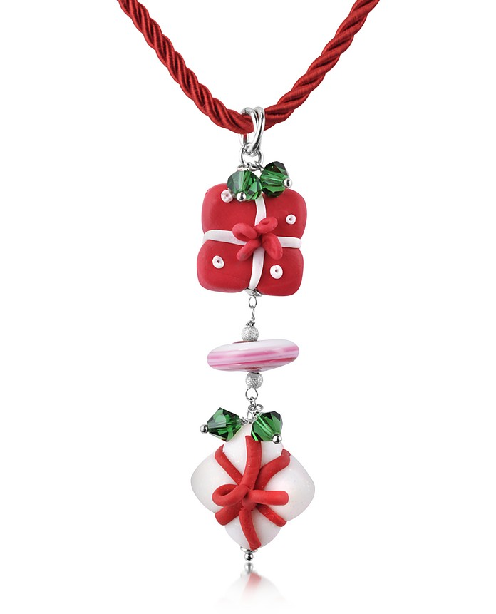 Christmas Gift Pendant with Red Lace - Dolci Gioie