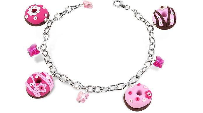 Sterling Silver Donut Charm Bracelet - Dolci Gioie