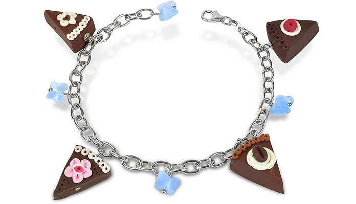 Sterling Silver Chocolate Cake Charm Bracelet - Dolci Gioie