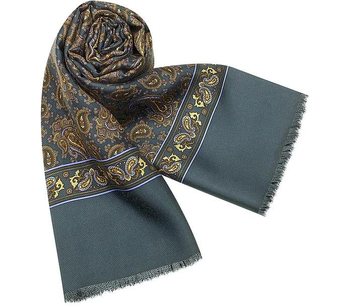 Men's Paisley Pattern Twill Silk Long Scarf - Marina D'Este