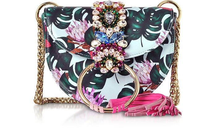Brigitte Azure Tropical Flower Shoulder Bag - Gedebe