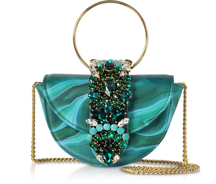 Mini Brigitte Clutch in Pelle Malachite e Cristalli - Gedebe