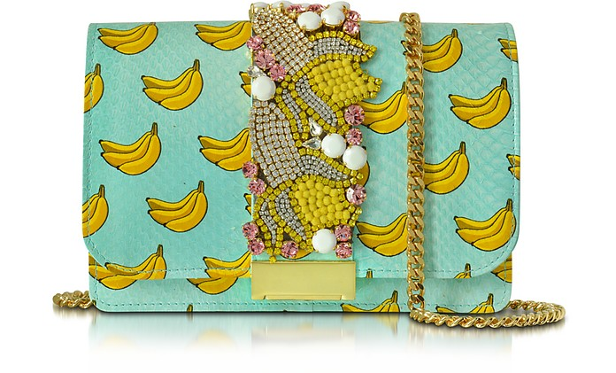 Clicky Azure Snake Leather Banana Clutch - Gedebe