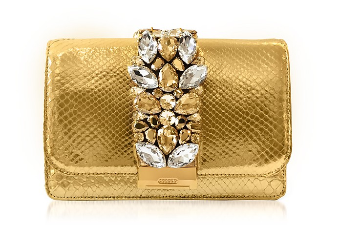 Cliky Gold Python Clutch w/Crystals - Gedebe