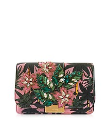Cliky Palms Leather Clutch w/Crystals - Gedebe