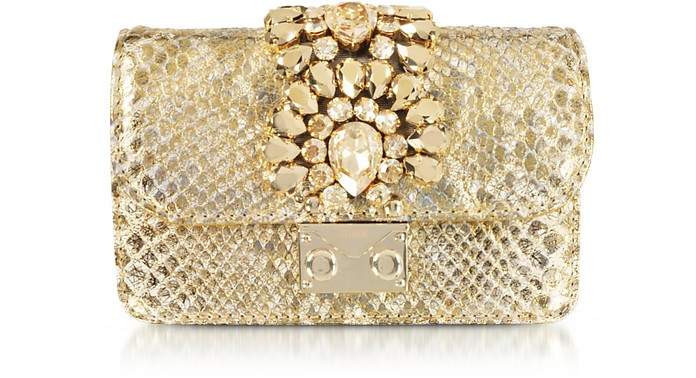 Mini Cliky Gold Shade Python Clutch w/Crystals - Gedebe