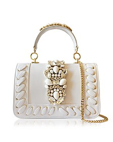 Bibi White Leather Plot Satchel Bag w/Crystals - Gedebe