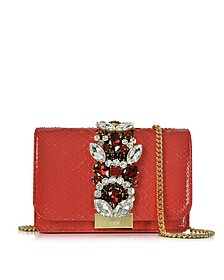 Clicky Red Python Clutch w/Crystals - Gedebe