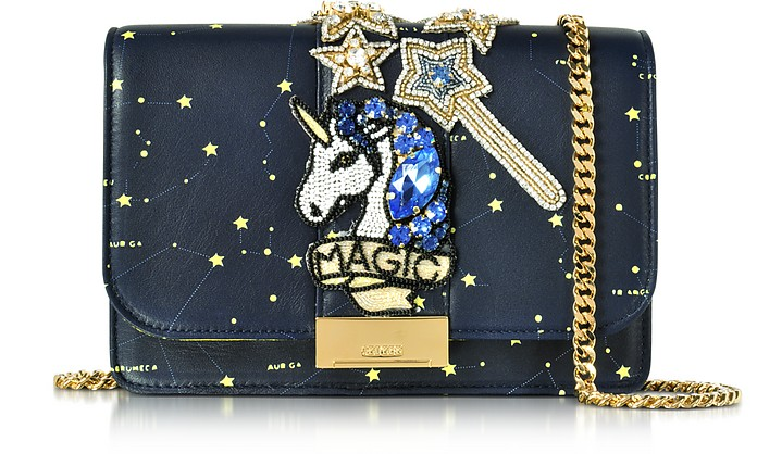Cliky Blue Galaxy Leather Clutch w/Beaded Unicorn - Gedebe