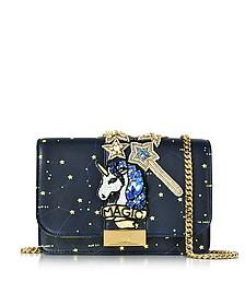 Clicky Blue Galaxy Leather Clutch w/Beaded Unicorn - Gedebe