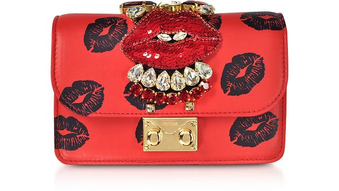 Mini Cliky Nappa Printed Red Lips Clutch w/Chain Strap - Gedebe