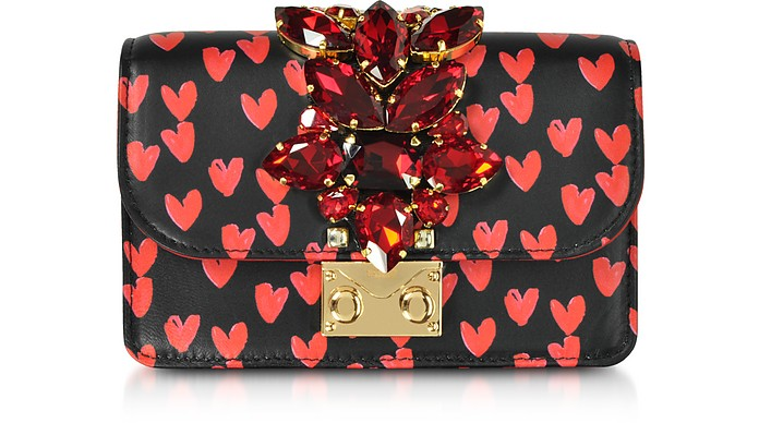 Mini Cliky Nappa Printed Red Hearts Clutch w/Chain Strap - Gedebe