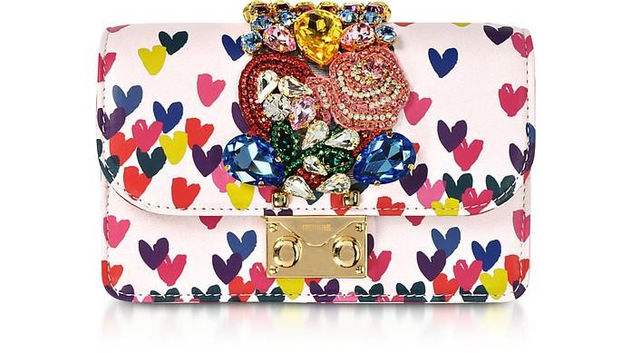 Mini Cliky Pink Nappa Printed Hearts Clutch w/Chain Strap - Gedebe