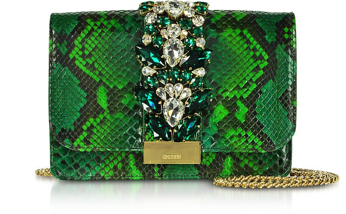 Cliky Python Emerald Jungle Clutch w/Crystals - Gedebe