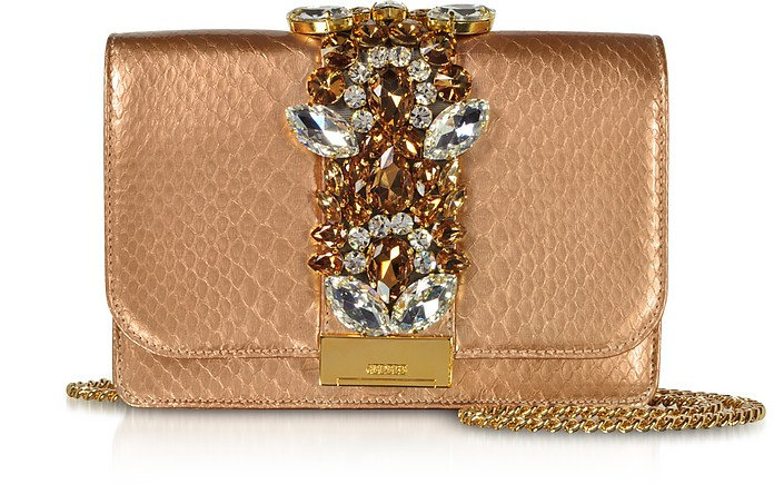 Gedebe CLIKY PYTHON GOLD ROSE PEARL CLUTCH W/CRYSTALS