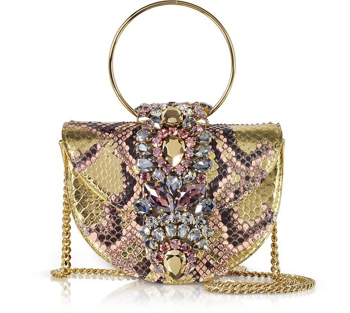 Mini Brigitte Pink Gold Python Clutch w/Crystals and Chain Strap - Gedebe