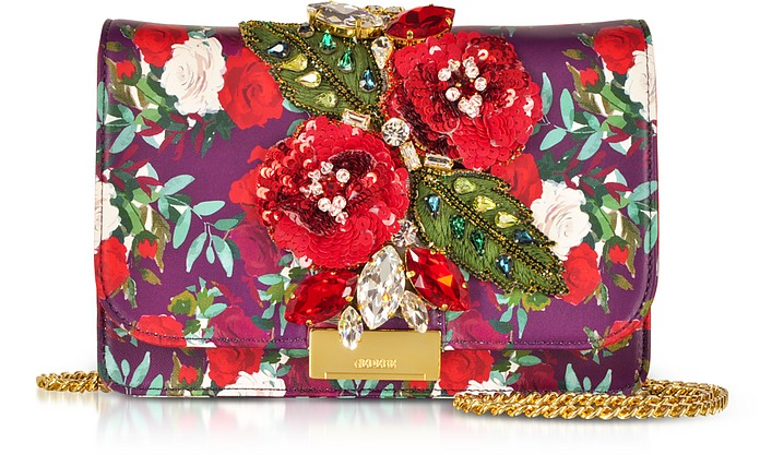 Gedebe CLIKY RED BURGUNDY NAPPA PRINTED ROSES CLUTCH W/CRYSTALS AND CHAIN STRAP