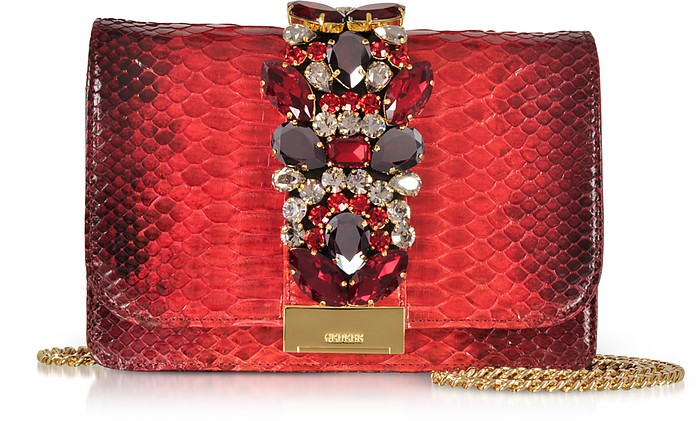 Cliky Red Shadow Python Clutch w/Crystals and Chain Strap - Gedebe