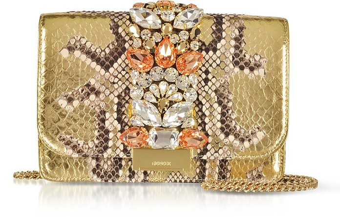Cliky Roccia Gold Python Clutch w/Crystals and Chain Strap - Gedebe
