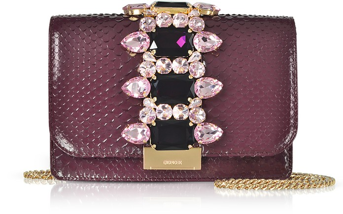 Cliky Purple Python Clutch w/Crystals and Chain Strap - Gedebe
