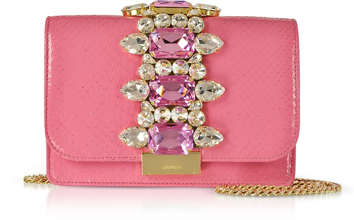 Cliky Barbie Python Clutch w/Crystals and Chain Strap - Gedebe