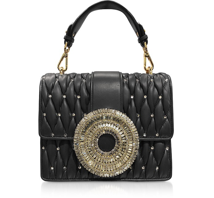 Gio Black Nappa Leather & Crystal Handbag - Gedebe