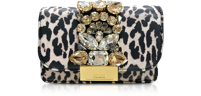 Mini Cliky White Leopard Print Leather  Clutch - Gedebe