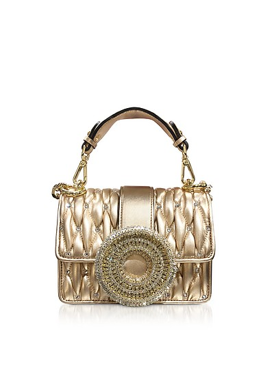 Gio Small Rose Gold Leather & Crystal Handbag - Gedebe