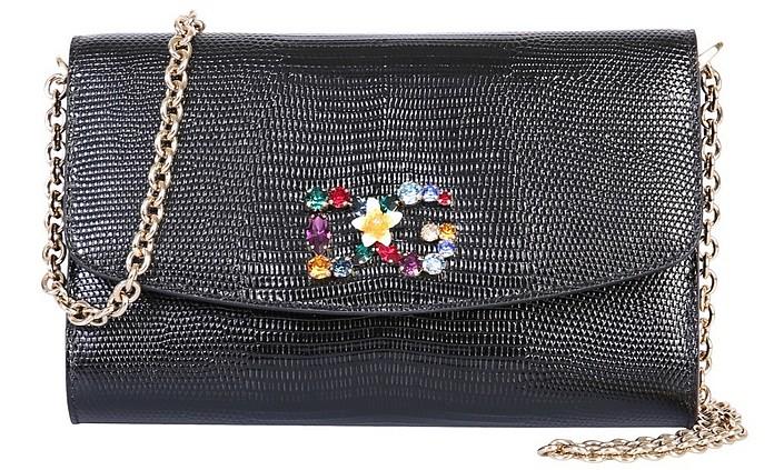 Amore Crystal Logo Black Mini Bag  - Dolce & Gabbana