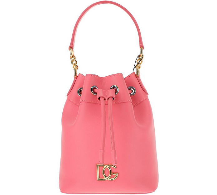 Coral Pink Leather Bucket Bag - Dolce & Gabbana