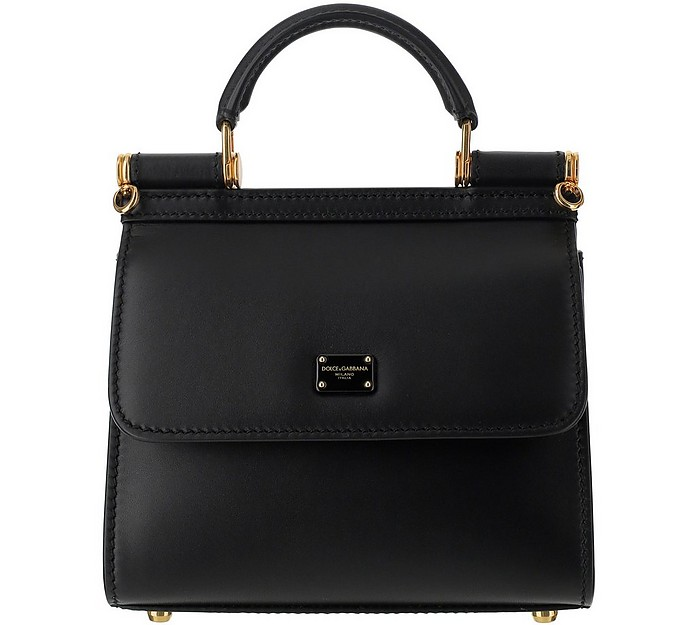 Black Leather Top-Handle Satchel Bag - Dolce & Gabbana