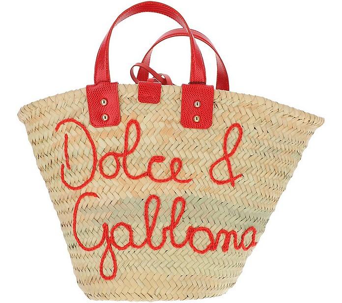 Woven Straw Signature Tote Bag - Dolce & Gabbana