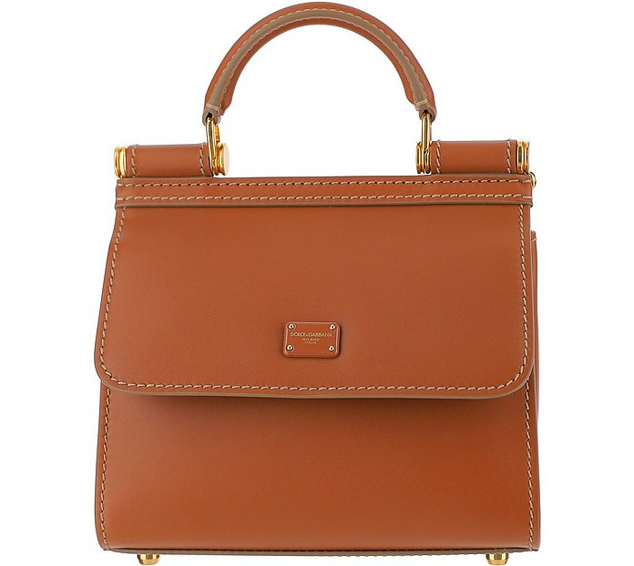 Brown Leather Top-Handle Satchel Bag - Dolce & Gabbana