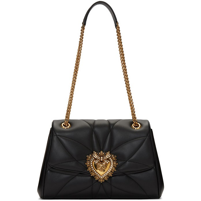 Black Large Quilted Devotion Bag - Dolce & Gabbana