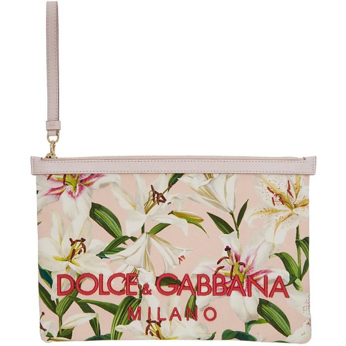 Pink Embroidered Lilium Pouch - Dolce & Gabbana