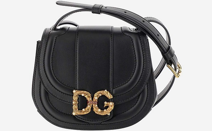 Black Smooth Calfskin Small dg Amore Bag - Dolce & Gabbana
