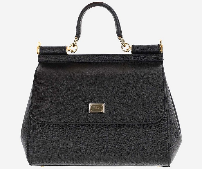 Black Leather Sicily Satchel Bag - Dolce & Gabbana