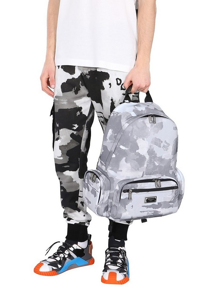 Backpack With Camoflauge Print And Logo - Dolce & Gabbana