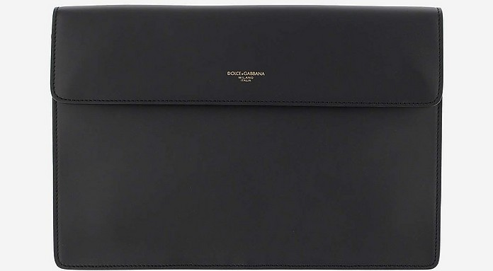 Black Smooth Leather Document Holder Clutch - Dolce & Gabbana