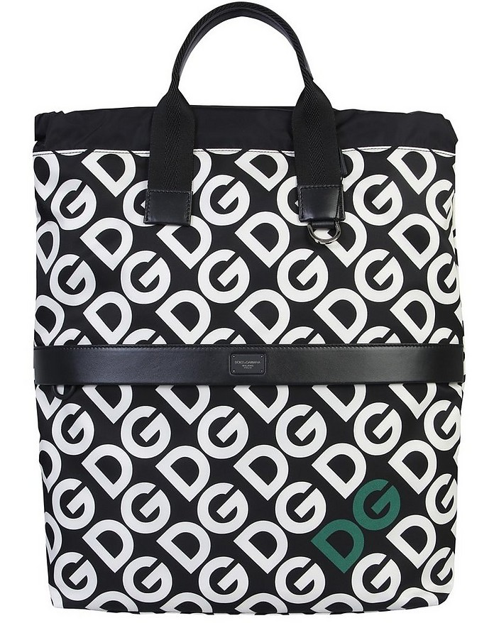 Black & White Dg Logo Printed Backpack - Dolce & Gabbana