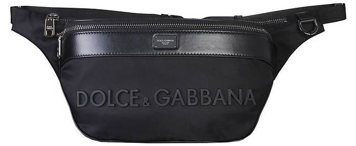 Black Signature Leather and Nylon Belt Bag - Dolce & Gabbana