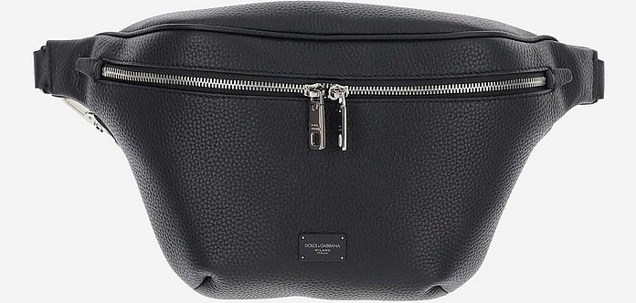 Black Grainy Leather Waistbag - Dolce & Gabbana