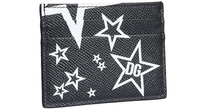 Black and White Star Printed Leather Card Holder - Dolce & Gabbana