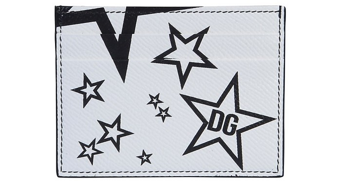White Star Embossed Leather Card Holder - Dolce & Gabbana