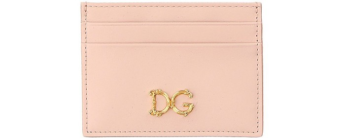 Rose Dauphine Leather Card Holder - Dolce & Gabbana
