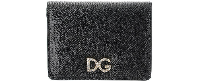 DG Leather Black Leather Wallet  - Dolce & Gabbana